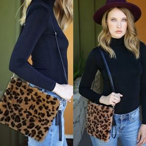 Handbags - Vegan Fur Leopard Crossbody bag - 3 colors
